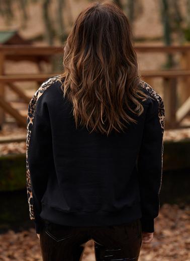 XHAN Leopar Detaylı Sweatshirt  9Kxk8-41671-02 Siyah